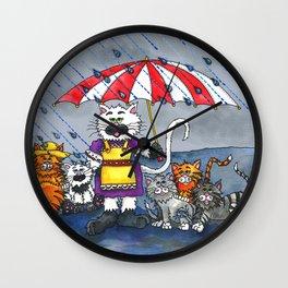 Cats on a Rainy Day Wall Clock