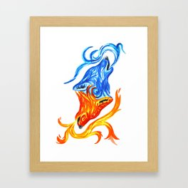 Fire and Water Wolves Framed Art Print