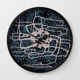 Modern abstract original mixed media (sumi ink and recycled hole punch paper) 'monacle dot' Wall Clock