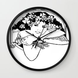 Line Drawing of Irish Woman Holding Shamrocks Wall Clock