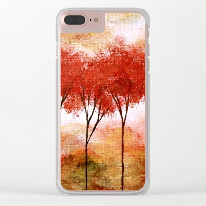 Burning Promise, Red Trees Landscape Art Clear iPhone Case