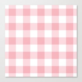 Coral Gingham Pattern Canvas Print