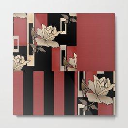 Vintage Patchwork Roses. Metal Print