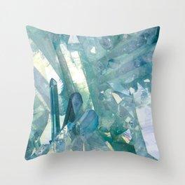 Sparkling Light Blue Crystal Shards Throw Pillow