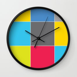 Colors and Squares Wall Clock