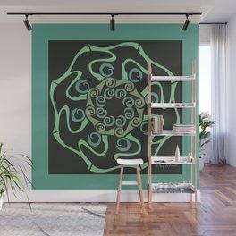 Hope Flower Mandala - Green Black Framed Wall Mural