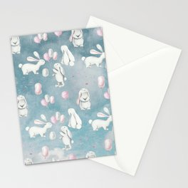 Bunnies Bunny in heaven-Cute Animal illustration pattern Stationery Cards