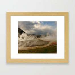 A Cloud Of Steam And Water Over A Geyser Framed Art Print