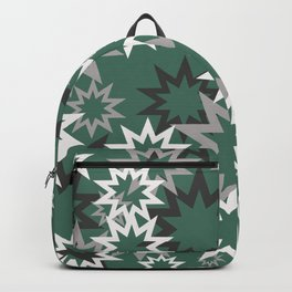 Stars silver grey turquoise background Backpack