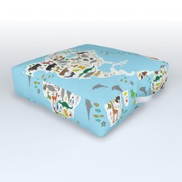 Cartoon animal world map for children and kids, Animals from all over the world Outdoor Floor Cushion