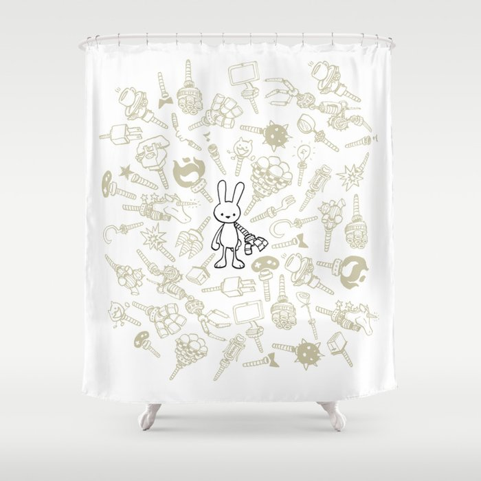 minima - beta bunny / gear Shower Curtain