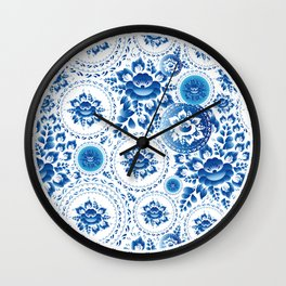 Vintage shabby Chic pattern with blue flowers and leaves Wall Clock