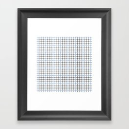 Dotted Grid Weave Blue Black Framed Art Print