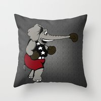 boxing Throw Pillows featuring Boxing Elephant by Adam Metzner