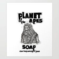 planet of the apes Art Prints featuring Planet of the Apes Soap by peter glanting