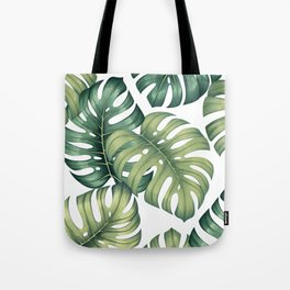 Monstera botanical leaves illustration pattern on white Tote Bag