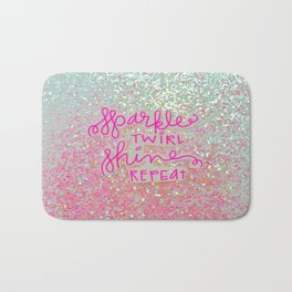 Sparkle Twirl Shine Repeat - White / Pink Sparkle Bath Mat