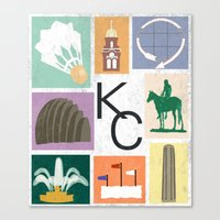 kansas city Canvas Prints featuring Kansas City Landmark Print by Jenna Davis Designs