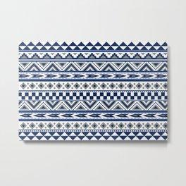 Tribal Art Pattern Navy Blue Silver White Metal Print