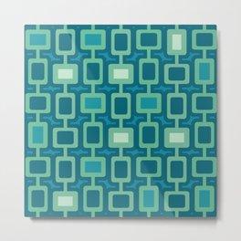 Mid Century Modern Square Columns aquamarine Metal Print