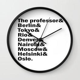 Money Heist /  La casa de papel squad. (version 2, in white) Wall Clock