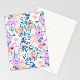 Modern watercolor garden floral paint Stationery Cards