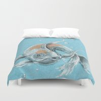 koi fish Duvet Covers featuring Koi Fish by Daydreamer