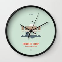 forrest gump Wall Clocks featuring Forrest Gump by Smile In The Mind