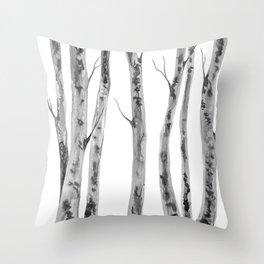 Birch Trees | Indian Ink Illustration | Canadian Art Throw Pillow