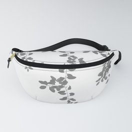 Grey Leaves pattern. grey. white. leaves. Fanny Pack