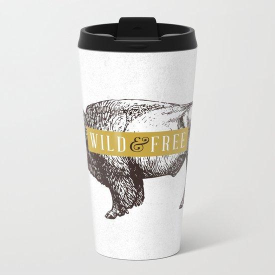 Wild & Free (Bison) Metal Travel Mug