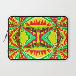 psychedelic geometric abstract pattern background in yellow red green Laptop Sleeve