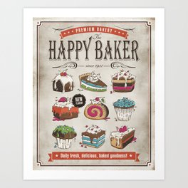 Happy Baker Art Print