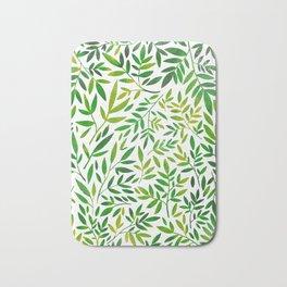 Green leaf botanical pattern Bath Mat