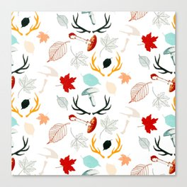 Autumn Boho Leaves Fall Forest Watercolor Canvas Print