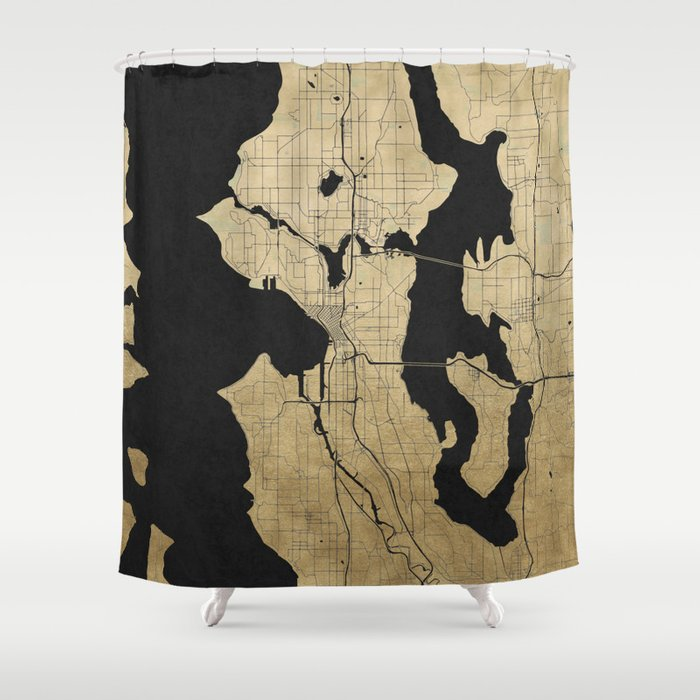 Seattle Black And Gold Street Map Shower Curtain By Mapmaker
