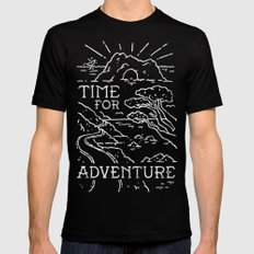 TIME FOR ADVENTURE (BW) MEDIUM Black Mens Fitted Tee