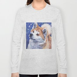 Akita inu Fine Art Dog Painting by L.A.Shepard Long Sleeve T-shirt