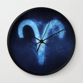 Aries Zodiac Sign. Abstract night sky. Wall Clock