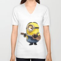 minions V-neck T-shirts featuring MINIONS by DisPrints