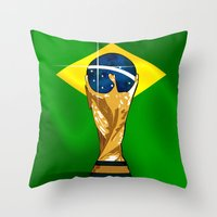 brazil Throw Pillows featuring Brazil 2014 by The Vector Studio