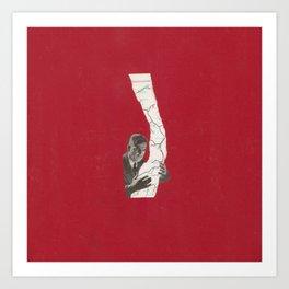 Torn Around — Red Map Art Print