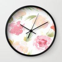 "hawaiian Wall Clocks featuring ""Hawaiian"" by  Tori Wise Watercolors"