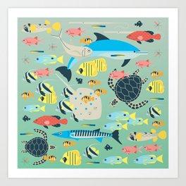 Underwater World with Coral Reef Animals Art Print