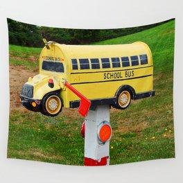 School Bus Mailbox Wall Tapestry