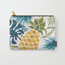 Golden pineapple on palm leaves foliage Carry-All Pouch