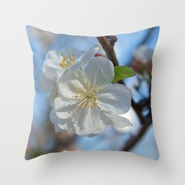 White Crabapple blossoms Throw Pillow