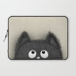 Cute Fluffy Black cat peaking out Laptop Sleeve