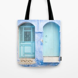 Doors - Chefchaouen VI - The Blue City, Morocco Tote Bag