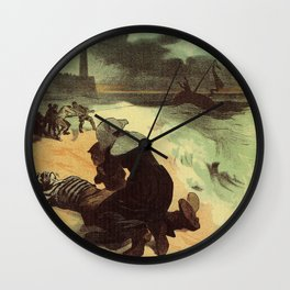 Vintage French drowned sailors charity advertising Wall Clock